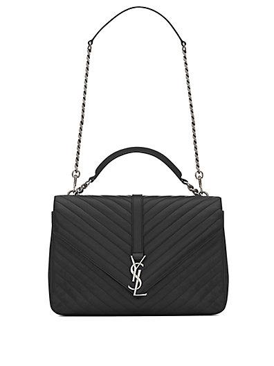 Saint Laurent Large College Monogram Matelasse Leather Shoulder Bag In Nero-Black