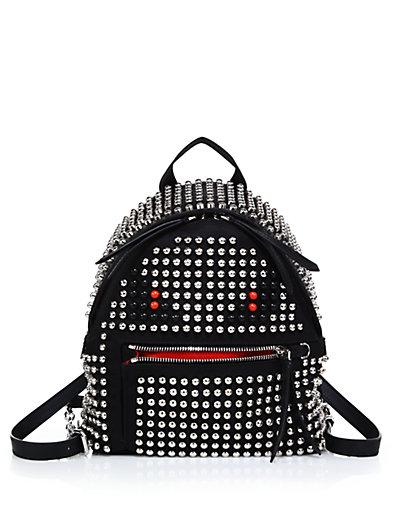 628cea056437 Fendi Monster Mini Studded Nylon Backpack In Black Silver