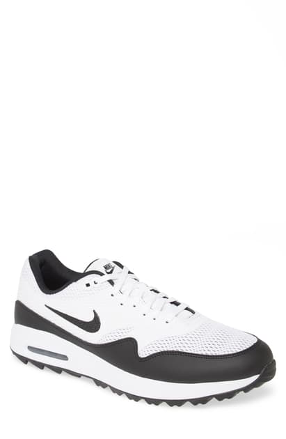 Nike Air Max 1g Faux Leather Trimmed Coated Mesh Golf Shoes In White Modesens