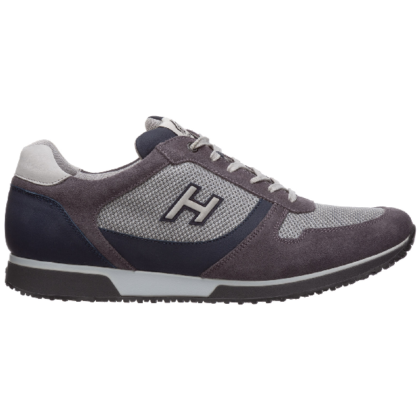 Hogan Men's Shoes Suede Trainers Sneakers H198 In Grey   ModeSens
