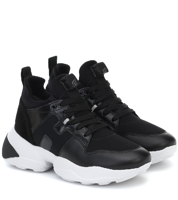 Hogan Sneaker Interaction H487 Model In Black Leather And Fabric ...