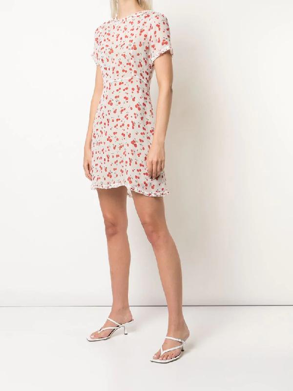 Hvn Natalie Cherry Print Mini Dress In White   ModeSens