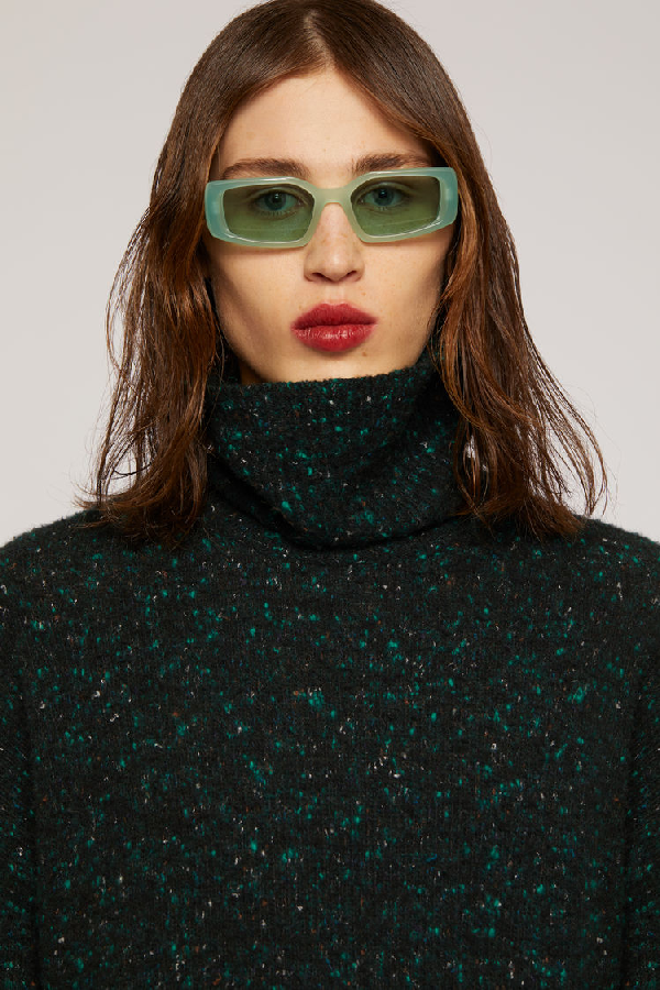 Flecked High neck Sweater Blackgreen