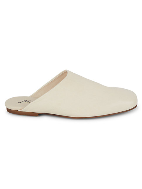 Free People Reese Leather Flat Mules In Bone Modesens
