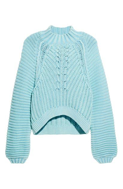 Free People Sweetheart Mock Neck Sweater In Blue | ModeSens