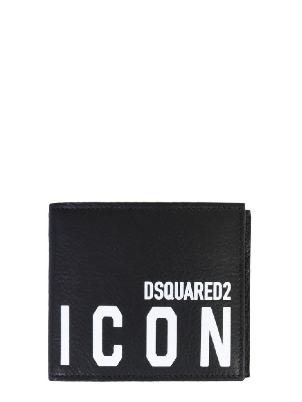 dsquared2 icon black logo leather wallet modesens icon black logo leather wallet