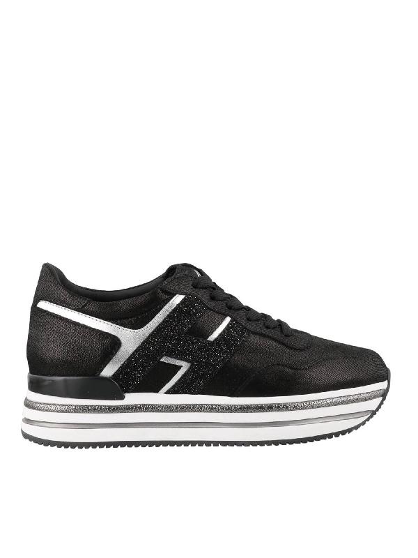 Hogan Sneakers Midi In Pelle Scamosciata Nera E Dettaglio