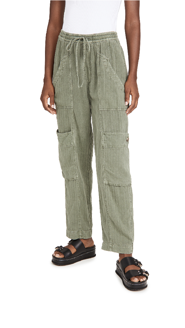 Free People Feelin Good Linen Blend Utility Pants In Moss Modesens