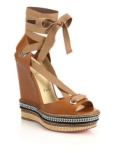 a83de8301ec7 Christian Louboutin Tribuli Curb-Chain Lace-Up Red Sole Wedge Sandal In  Brown