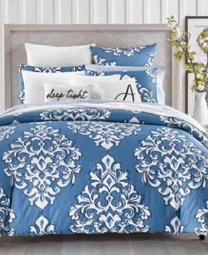 Charter Club Damask Designs Outline 300 Thread Count 2 Pc Twin Comforter Set Created For Macy S Bedding In Blue Modesens
