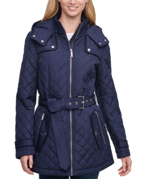 Tommy Hilfiger Petite Hooded Belted Water-resistant ...