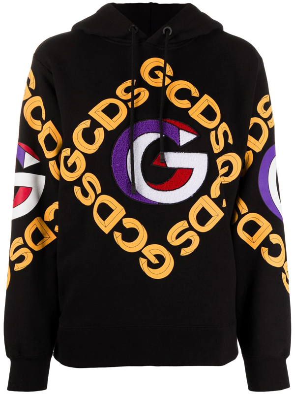 Gcds Felpa Con Cappuccio In Cotone Con Logo 3d In Black Modesens