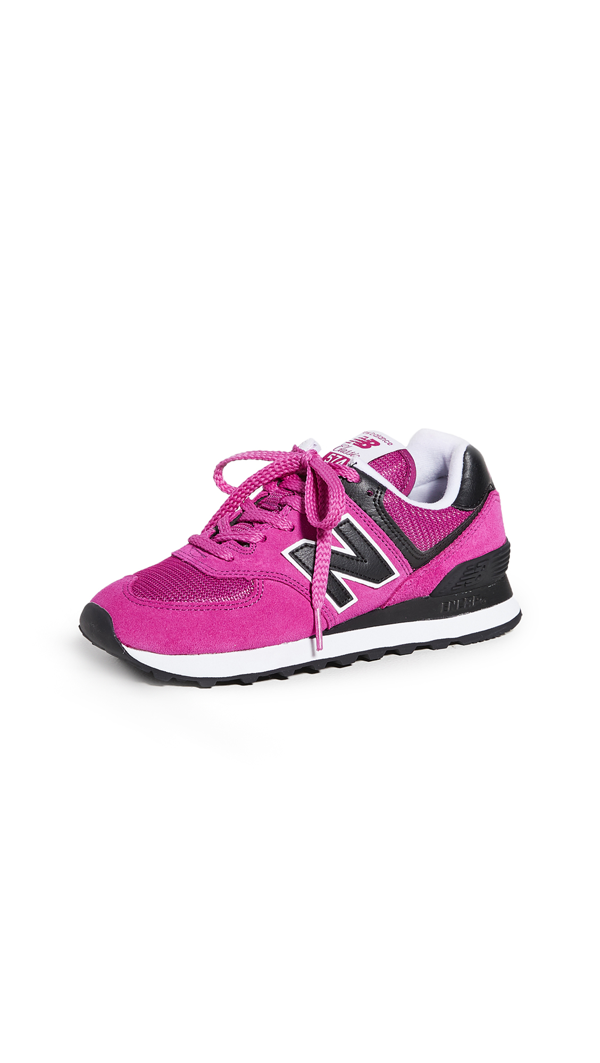 New Balance 574 Sneakers In Fuchsia And Black-pink | ModeSens