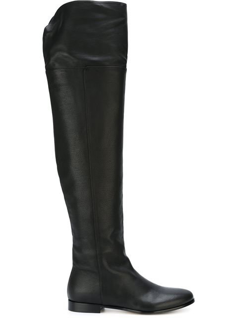 Over Flat Calf Black Leather Knee Mitty Boots Grainy The j4AR5Lq3