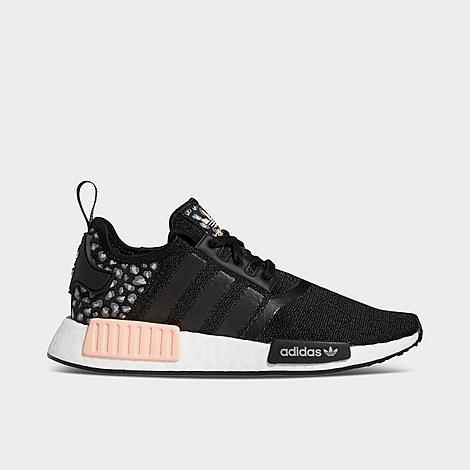 Adidas Women's Nmd R1 Animal Print Casual Sneakers From Finish Line In Core Black/pale Pink/grey