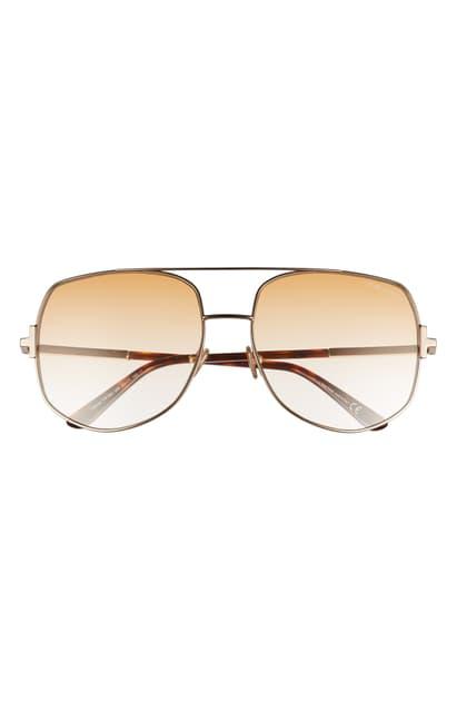 Tom Ford Lennox 62mm Oversize Aviator Sunglasses In Rose Gold/ Gold | ModeSens