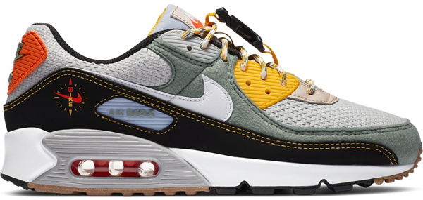 Pre-owned Air Max 90 Buckle Spiral Sage In Spiral Sage/black-university Gold-white
