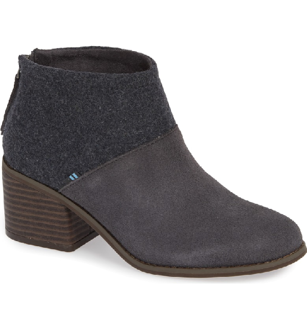 Toms Lacy Bootie In Forged Iron Suede