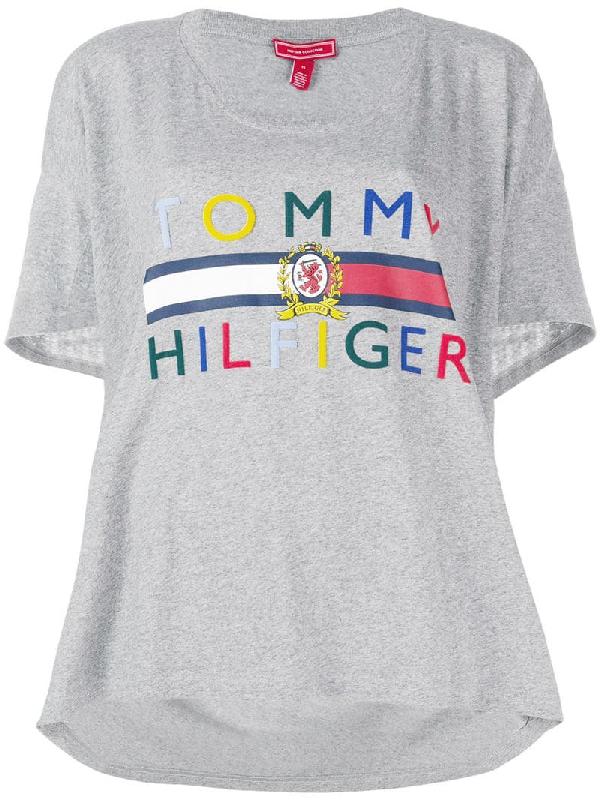 1a341def Tommy Hilfiger Hilfiger Collection High Low Logo T-Shirt - Grey ...