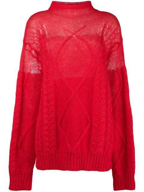 Maison Margiela Sheer Cable Knit Sweater In Red