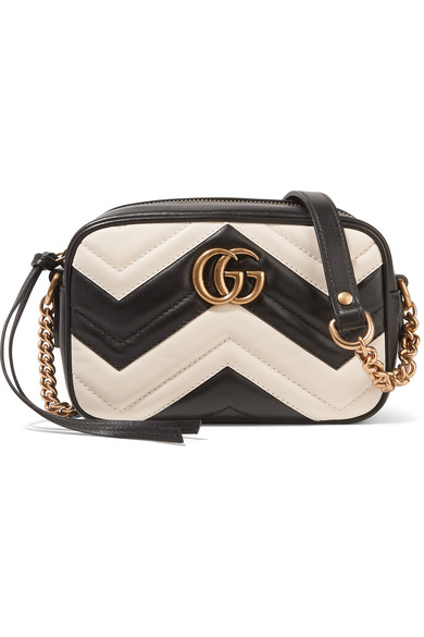 bdf28d9c7 Gucci Gg Marmont Camera Mini Two-Tone Quilted Leather Shoulder Bag In Black