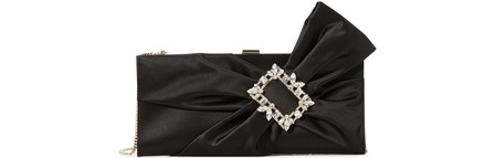 Roger Vivier Trianon Satin Clutch W/ Embellished Bow In Black
