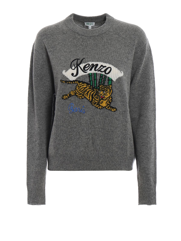 f260b9c5 Embroidered Tiger Sweater in Dove Grey