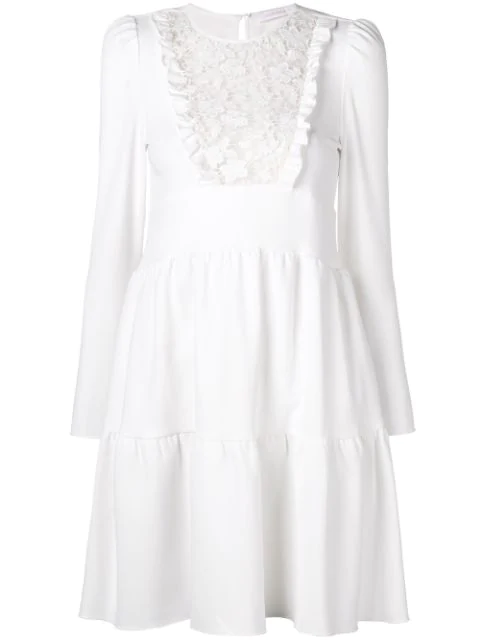 Short Long Sleeve Lace Tiered Dress In White