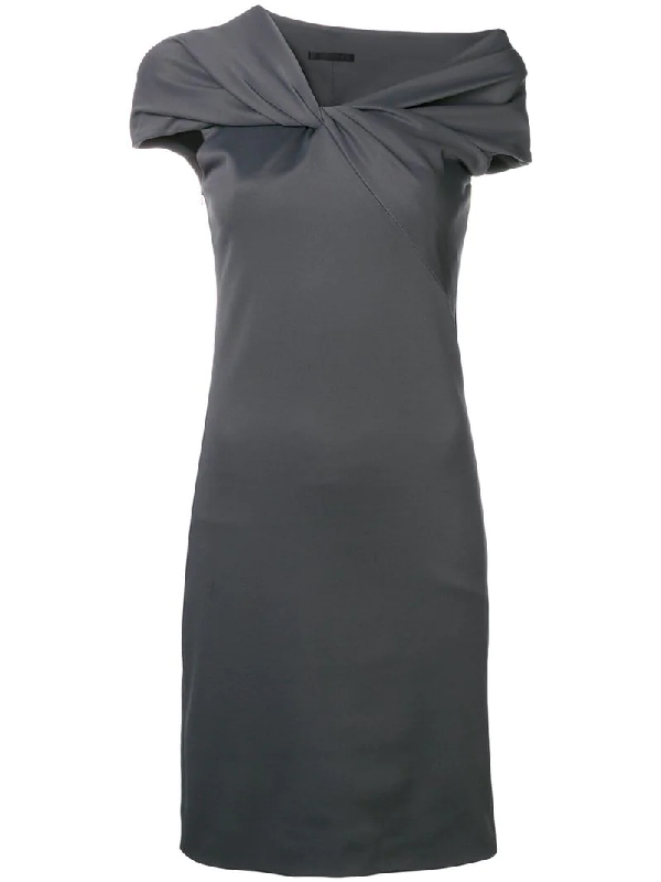 b75aee351a0 Helmut Lang Twist-Front Asymmetric Cap-Sleeve Dress In Grey | ModeSens