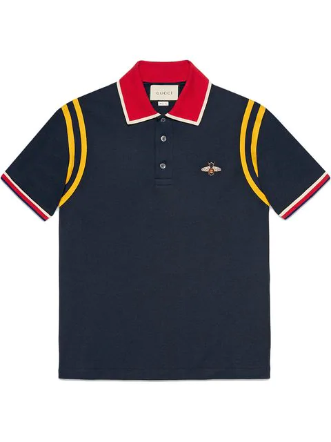1e398694ca3 Gucci Bee Embroidered Cotton Polo Shirt In Blue In 4033 Blue | ModeSens