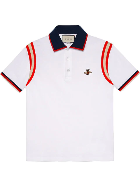 6bcda78a Gucci Bee-Embroidered Stretch-Cotton PiquÉ Polo Shirt In White ...