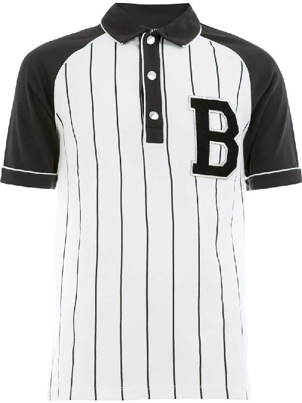 859f16c6 Balmain Striped Cotton-PiquÉ Polo Shirt In White | ModeSens