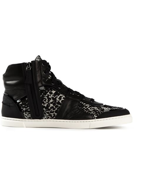Lanvin Python-Jacquard High-Top Sneakers In Black