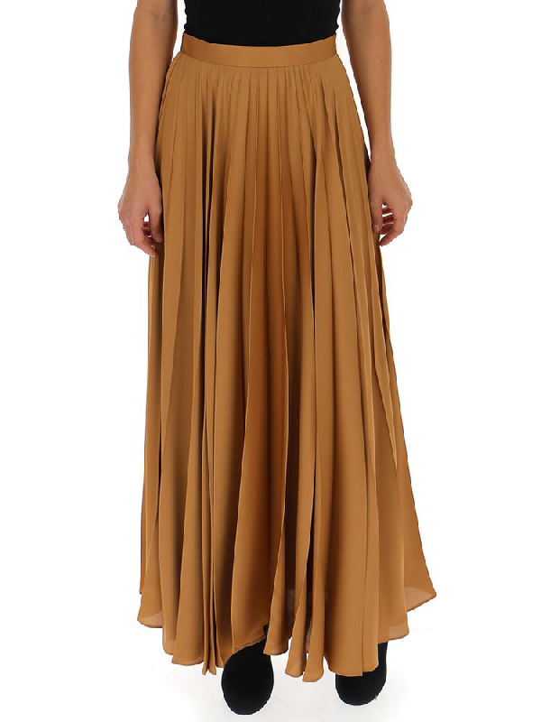 The Row Pleated Maxi Skirt In Brown