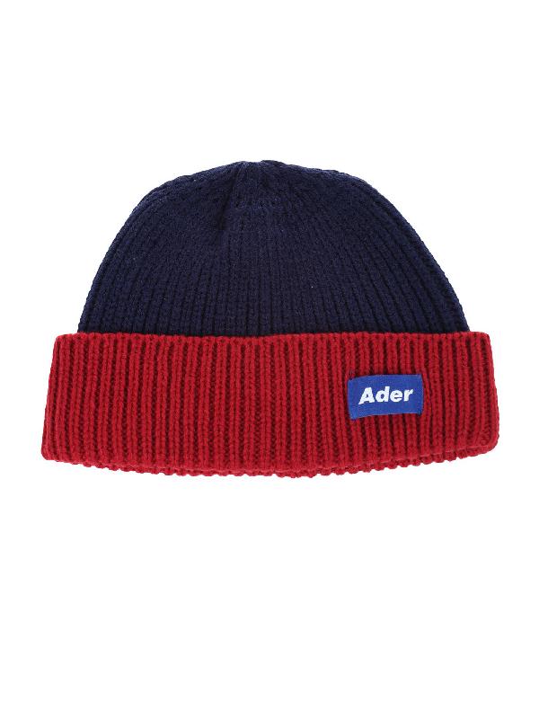 e929fdad034 ADER ERROR. Ader Error Ribbed Logo Beanie Hat in Red