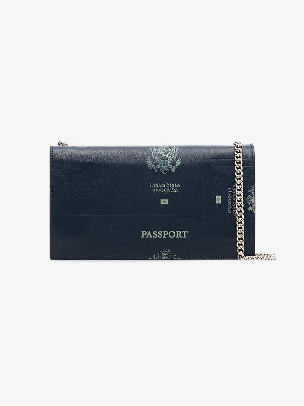 72521fcf26 Vetements Blue Passport Print Leather Shoulder Bag