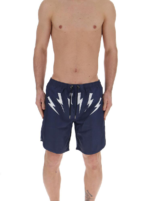 77a7cd513c704 Neil Barrett Drawstring Swim Shorts In Blue | ModeSens