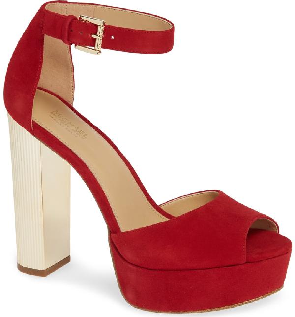 abe575ebccd Michael Michael Kors Paloma Metallic Heel Platform Sandal In Scarlet ...