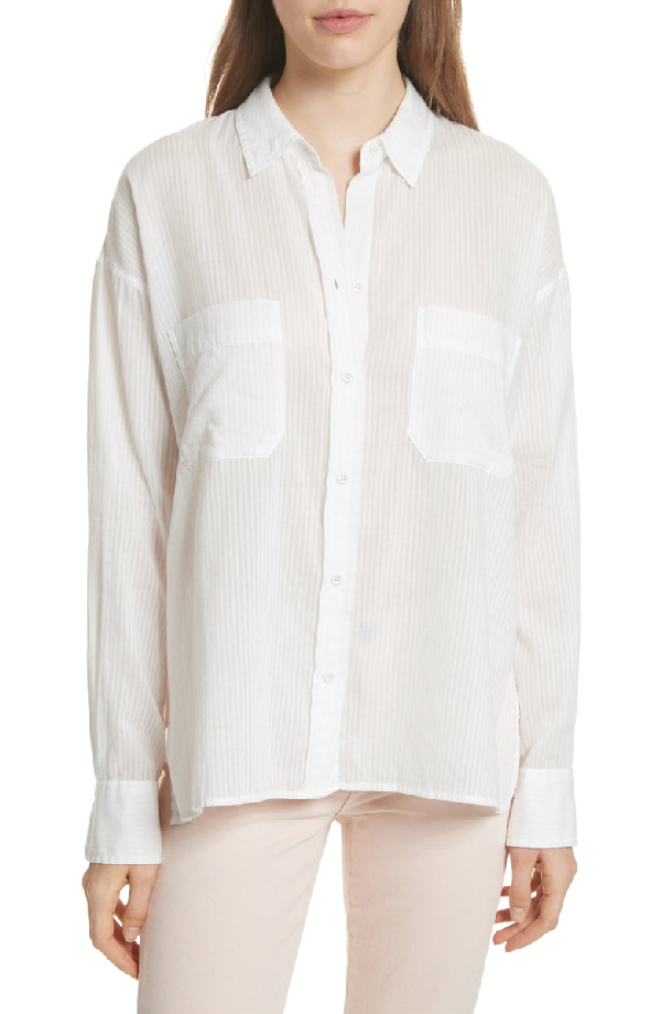 Vince Double Pocket Blouse In Off White