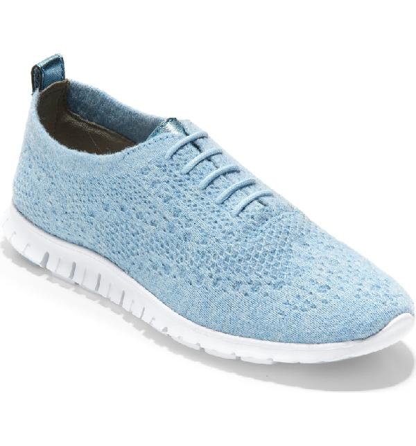 a7b9743e4c Cole Haan Zerogrand Stitchlite Wool Flat In Chambray Blue Fabric ...
