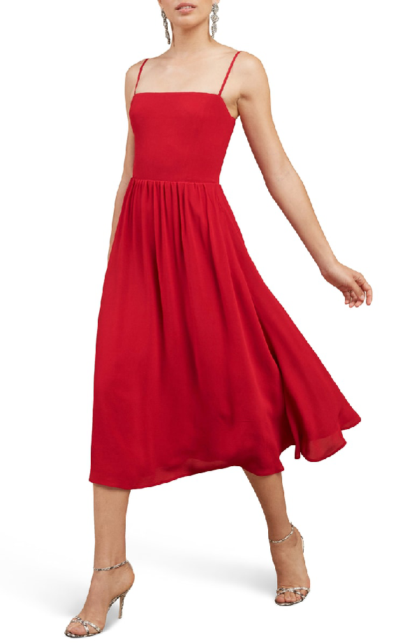 96407c202801 Reformation Rosehip Fit & Flare Dress In Lipstick | ModeSens