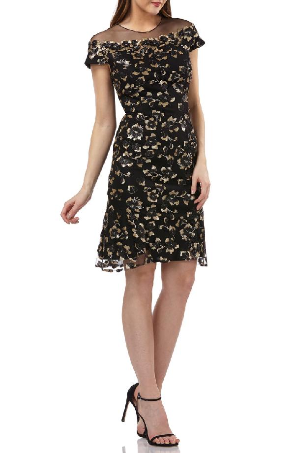 7cd9596a4cad8f CARMEN MARC VALVO INFUSION. Sequin Floral Illusion Yoke Cocktail Dress ...