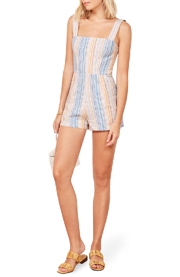 79a73f6086 Channel your inner child in a sassy little romper that s sweetly smocked at  the back. Style Name  Reformation Island Linen Romper. Style Number   5667800.