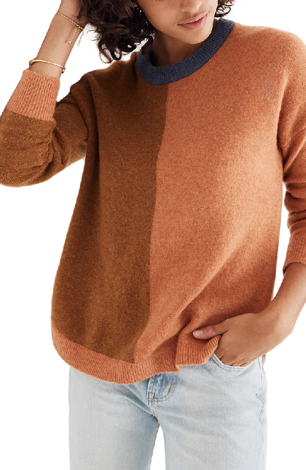 812422ff24 Madewell Westlake Colorblock Pullover In Heather Harvest