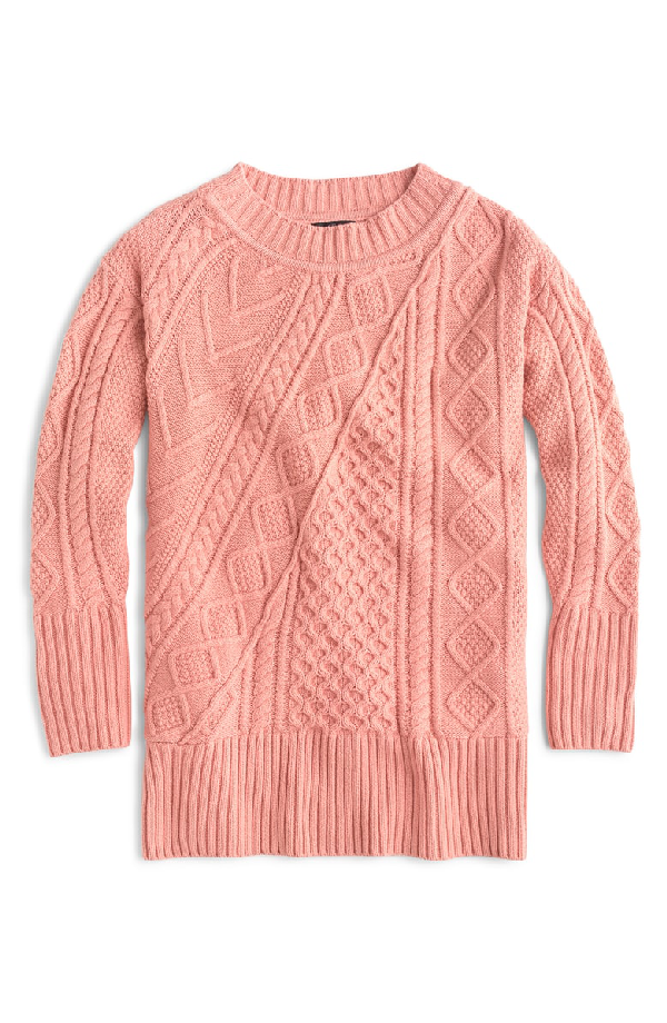 J.Crew Patchwork Cable Knit Oversize Tunic Sweater In Seashell