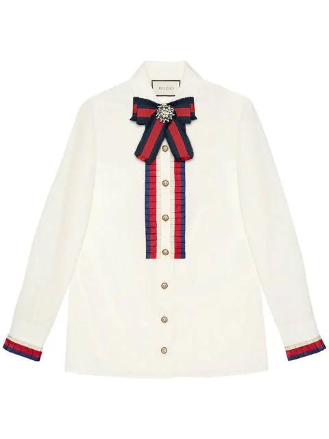 44b084363e7 Gucci Embellished Grosgrain-Trimmed Cotton-Poplin Shirt In White ...