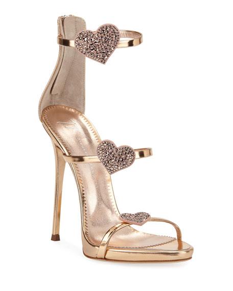 Giuseppe Zanotti Swarovski Crystal & Leather Stiletto Heart Sandals In Rose Gold