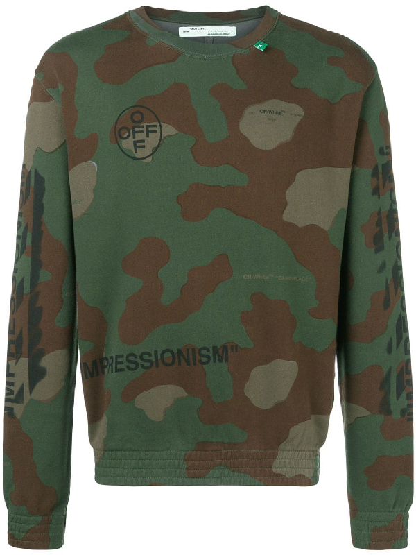 Off-White Men's Camo Diagonal-Arrows Sweatshirt In Green