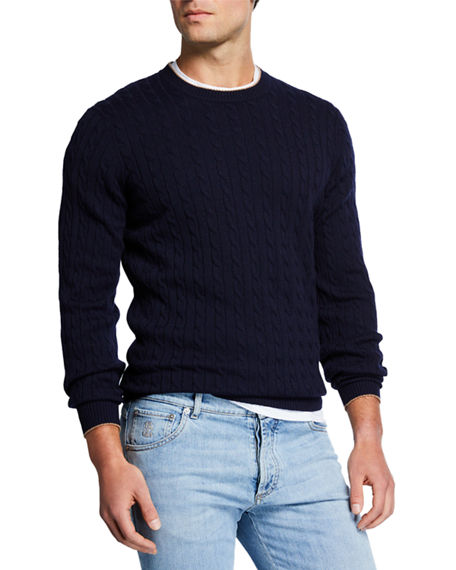 29c95afed63 Men's Cashmere Cable-Knit Crewneck Sweater in Navy