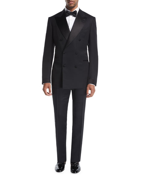 Tom Ford Shelton Base Double-Breasted Tuxedo Suit In Black